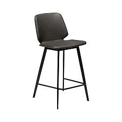 Tmavě šedá barová židle z eko kůže DAN–FORM Denmark Swing