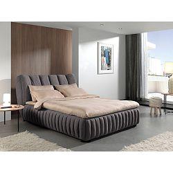 Tmavě šedá  dvoulůžková postel Sinkro Michelle, 160x200cm
