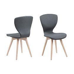 Tmavě šedá jídelní židle s podnožím z dubového dřeva Actona Gongli