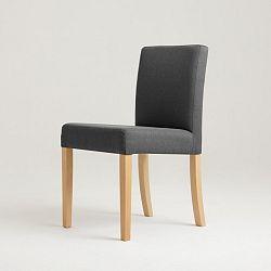 Tmavě šedá židle s přírodními nohami Custom Form Wilton