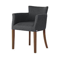 Tmavě šedá židle s tmavě hnědými nohami Ted Lapidus Maison Santal