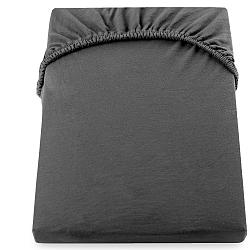 Tmavě šedé prostěradlo DecoKing Amber Collection, 140-160 x 200 cm