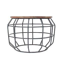 Tmavě šedý konferenční stolek s deskou z mangového dřeva LABEL51 Pixel, ⌀56 cm