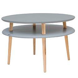 Tmavě šedý konferenční stolek s přírodními nohami Ragaba UFO, Ø70cm