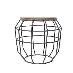Tmavě šedý příruční stolek s deskou z mangového dřeva LABEL51 Pixel, Ø51 cm