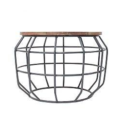 Tmavě šedý příruční stolek s deskou z mangového dřeva LABEL51 Pixel, Ø56 cm