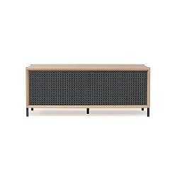 Tmavě šedý TV stolek z dubového dřeva HARTÔ Gabin, délka 122 cm