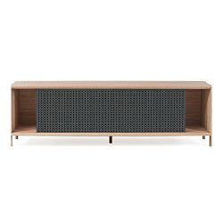 Tmavě šedý TV stolek z dubového dřeva HARTÔ Gabin, délka 162 cm