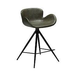 Tmavě zelená barová židle z eko kůže DAN–FORM Denmark Gaia, výška 87 cm