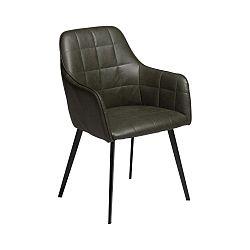 Tmavě zelená jídelní židle z eko kůže s područkami DAN–FORM Denmark Embrace