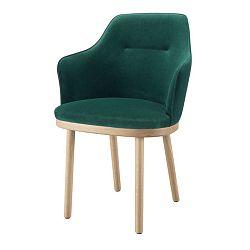 Tmavě zelená židle s područkami a nohami z dubového dřeva Wewood - Portuguese Joinery Sartor