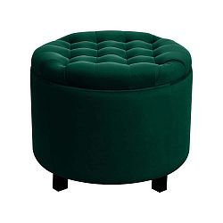 Tmavě zelený puf s úložným prostorem JohnsonStyle Estrid French Velvet, ⌀ 52 cm