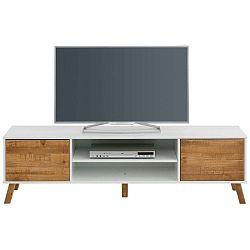 TV stolek z masivního borovicového dřeva s bílými detaily Støraa Rafael