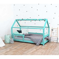 Tyrkysová dětská postel s bočnicemi ze smrkového dřeva Benlemi Tery, 120 x 160 cm