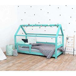 Tyrkysová dětská postel s bočnicemi ze smrkového dřeva Benlemi Tery, 80 x 160 cm