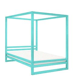 Tyrkysově modrá dřevěná dvoulůžková postel Benlemi Baldee, 190x160cm