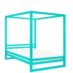 Tyrkysově modrá dřevěná dvoulůžková postel Benlemi Baldee, 200x200cm