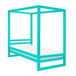 Tyrkysově modrá dřevěná jednolůžková postel Benlemi Baldee, 200x90cm