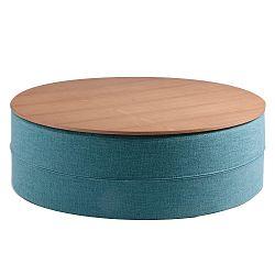 Tyrkysový odkládací stolek s deskou v dekoru dubového dřeva sømcasa Mauro