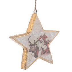 Vánoční dřevěná závěsná dekorace ve tvaru hvězdy InArt Molly