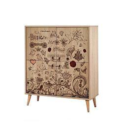 Variabilní čtyřdveřová komoda Multilux Romance, 111 x 95 cm