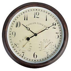 Venkovní hnědé nástěnné hodiny s arabskými číslicemi EsschertDesign