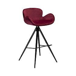 Vínová barová židle DAN–FORM Denmark Gaia Velvet, výška 98 cm
