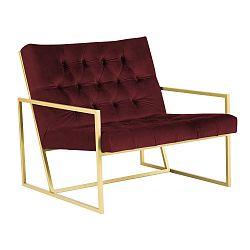 Vínově červené křeslo s konstrukcí ve zlaté barvě Paolo Bellutti Maurizio