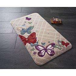 Vzorovaná béžová předložka do koupelny Confetti Bathmats Butterfly, 80 x 140 cm
