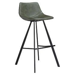 Zelená barová židle s černým kovovým podnožím DAN–FORM Pitch