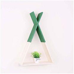 Zelená dřevěná nástěnná polička North Carolina Scandinavian Home Decors Teepee L