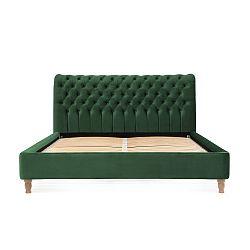 Zelená postel z bukového dřeva Vivonita Allon, 140 x 200 cm
