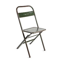 Zelená skládací ručně vyráběná židle z recyklovaného kovu RGE Mash