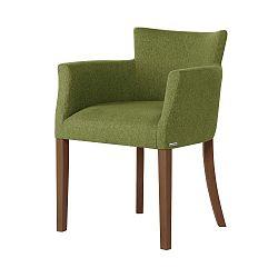 Zelená židle s tmavě hnědými nohami Ted Lapidus Maison Santal