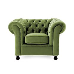 Zelené křeslo Vivonita Chesterfield