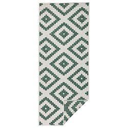 Zeleno-krémový vzorovaný oboustranný koberec Bougari Malta, 80x 250 cm