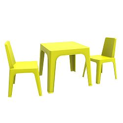 Zelený dětský zahradní set 1 stolu a 2 židliček Resol Julieta