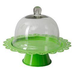 Zelený servírovací stojan na dort se skleněným poklopem Mauro Ferretti