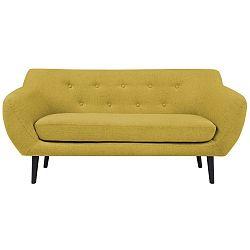 Žlutá dvoumístná pohovka s hnědými nohami Mazzini Sofas Piemont