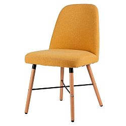 Žlutá jídelní židle s podnožím z bukového dřeva sømcasa Kalia