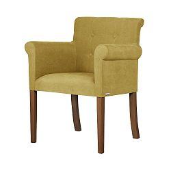 Žlutá židle s tmavě hnědými nohami Ted Lapidus Maison Flacon
