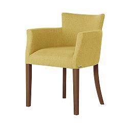 Žlutá židle s tmavě hnědými nohami Ted Lapidus Maison Santal