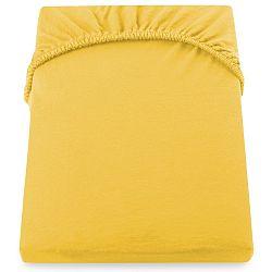 Žluté elastické prostěradlo DecoKing Nephrite, 140–160cm