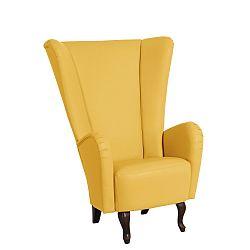 Žluté koženkové křeslo Max Winzer Aurora