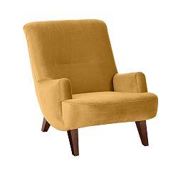 Žluté křeslo s hnědými nohami Max Winzer Brandford Suede