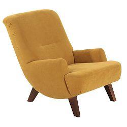 Žluté křeslo s tmavě hnědými nohami Max Winzer Brandford Velor