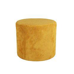 Žlutý manšestrový puf Leitmotiv Glam, 45 x 40 cm