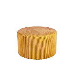 Žlutý manšestrový puf Leitmotiv Glam, 50 x 30 cm
