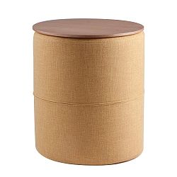Žlutý odkládací stolek s deskou v dekoru dubového dřeva sømcasa Leo