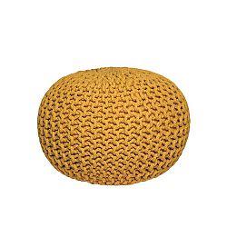 Žlutý pletený puf LABEL51 Knitted